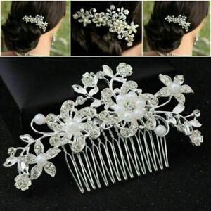 UK Flower Wedding Hair Pins Bridesmaid Crystal Diamante Pearls Bridal Clips Comb