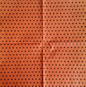 4 x  PAPER NAPKINS: ORANGE, with BLACK SPOTS  for TABLE, DECOUPAGE & CRAFTING