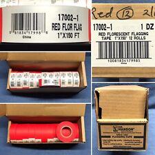 "(BOX / 12 ROLLS) C.H. HANSON 17002-1, 1"" X 150', RED FLUORESCENT FLAGGING TAPE"