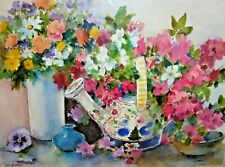 Matted Original Watercolor Painting - Still Life Flowers & Vases