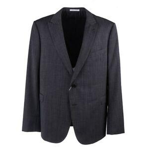 Armani Collezioni Gray Houndstooth Check Wool Suit US 48R Peak Lapels