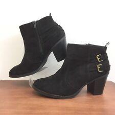 Gap Black Double Buckle Heeled Ankle Boots Side Zip Great Look Women's Size 9