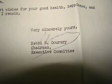 jewish judaica rabbi Lubavitch Chabad Schneersohn Mazkir Gourary Signed Letter