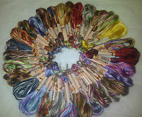 30 Skeins Large Art Silk/Rayon Stranded Multi Coloured  Embroidery Threads
