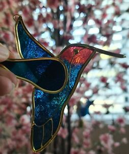 Beautiful Stained Glass Hummingbird Suncatcher FREE SHIPPING