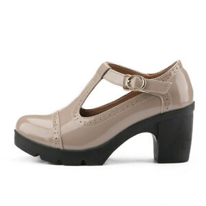 New Business Women Office Muller Shoes Round Toe Thick Bottom Buckle Oxford Shoe