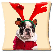 "CHRISTMAS BOSTON TERRIER WEARING ANTLERS & SANTA COAT 16"" Pillow Cushion Cover"