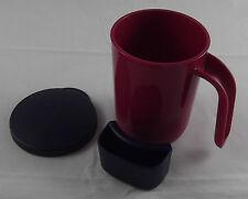 Tupperware Tasse Kaffeebecher Teebecher mit Deckel 350 ml Weinrot Blau Neu OVP