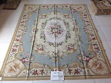 7.8' X 9.8' Beautiful Needlepoint Wool Rug Blue Beige French Aubusson Design