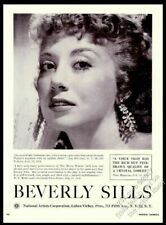 1957 Beverly Sills photo opera singing recital tour booking vintage print ad