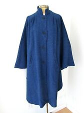VGC Vtg 70s 80s Variegated Blue Black Wool Blend Tweed Button Cape Pockets S