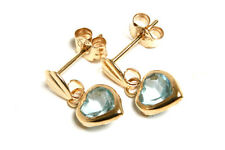 9ct Gold Blue Topaz Heart Drop Earrings Made in UK Gift Boxed