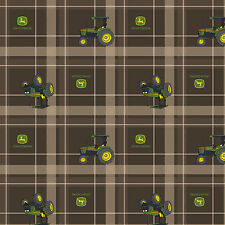 John Deere Brown Tractor Plaid 100% Cotton Fabric by the Yard