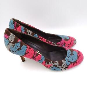 Bettye Muller Womens Pink Round Toe Slip On Casual Stilettos Pump Heel Size 7