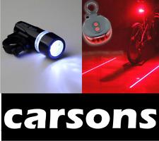 front power beam 5 led & rear laser bike lights set - cree light smart leds beam