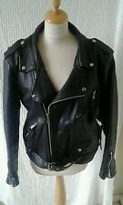 50s 70s style punk motorbike biker leather jacket chest 40 black Rock