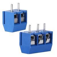 100pcs Blue 3/2-Pin Screw Terminal Block Connector 5.08mm Pitch Panel PCB Mount