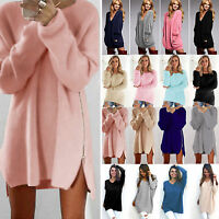Womens Winter Long Sleeve Pullover Jumper Blouse Tunic Knit Sweater Mini Dress