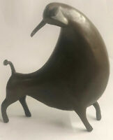 "10"" West Art Deco Bronze Sculpture Abstract Art Animal Bull Ox Statue Figurine"