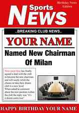 A5 PERSONALIZZATA MILAN CALCIO Presidente greeting card compleanno pid023
