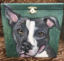 Custom hand painted portrait memorial Large Wood box Pet Urn Pit bull terrier