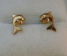 Dainty Hallmarked Yellow Gold 9c Dolphin Porpoise Stud Earrings 7j 95