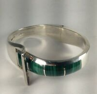 """Vintage Heavy Sterling Silver Malachite Inlay Hinged Buckle Bracelet Size 7"""" B34"""