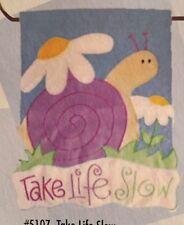 SNAIL TAKE LIFE SLOW FLOWERS SPRING APPLIQUE MINI WINDOW GARDEN YARD FLAG NEW