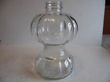 Vtg. Clear Glass Pumpkin Melon Ribbed Desigh Oil Lamp Font Base.