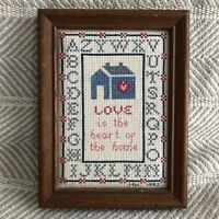 Framed Handmade Cross Stitch Love is the Heart of the Home Needlepoint 1992 EUC
