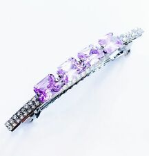 USA BARRETTE Using Swarovski Crystal Hair Clip Pin Accessory Long Purple