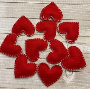 Handmade Valentine's Day Holiday 100% Wool Felt Wall Hanging Garland/Bunting