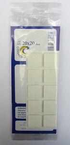 30 Felt Stickers Squares 20x20 MM White Color New colorchimica