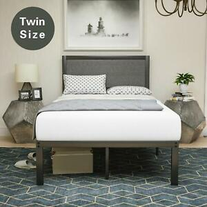 Twin Size Bed Frame Upholstered Linen Platform Headboard Wood Slats Furniture