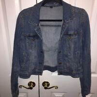 American Eagle Outfitters Womens Cropped Denim Jacket Blue Pockets Stretch L