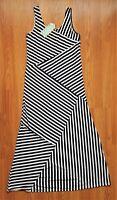 Womens Maxi Dress Black White Stripes Free Size NWT EUC