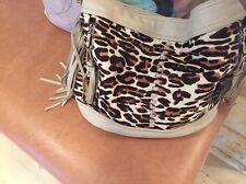 B Makowsky Leopard Suede & Leather Bucket Bag