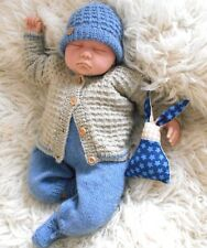 Baby DK knitting pattern to knit boys designer cardigan hat booties trouser set