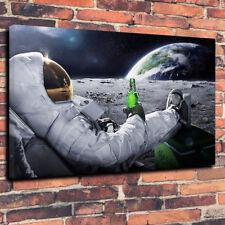 """CARLSBERG sulla luna Wall Art Stampa Foto su tela A1.30""""x20"""" 30 mm Man Grotta"""
