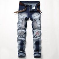 Men's Long Wrinkle Straight Leg Slim Fit Jeans Applique Hole Denim Pants Trouser