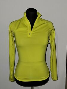 Nike Pro Combat Woman 1/4 Zip Activewear Shirt Long Sleeve Yellow Size XS Fitted