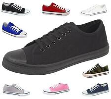 Ladies Canvas Shoes Plimsole Pumps Womens Trainer Breathable Lace-Up Sneakers