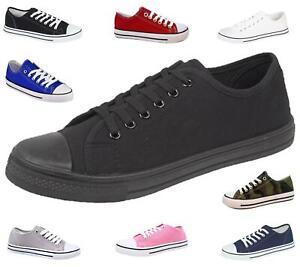 Ladies Canvas Shoes Plimsole Pumps Womens Trainer Breathable Lace-Up Sneakers