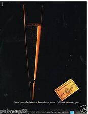 Publicité Advertising 1989 La Carte Gold Card American Express