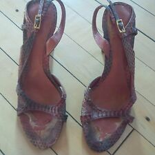 Nine West Orange & Brown Snakeskin Strappy Stilettos Heels Slingbacks Shoes 6.5