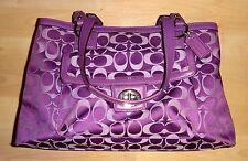 "$328 COACH 'Penelope' Purple-Violet Jacquard & Leather 9"" x 14"" Handbag #19043"