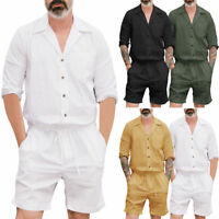 Men's One Piece Rompers Short Sleeve Street Casual Cargo Pants Jumpsuit Overalls