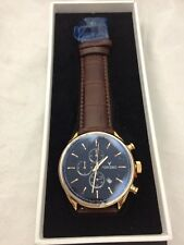 VINCERO Watch Chrono BLACK Gold Brown Leather Band Men's Luxury Watch