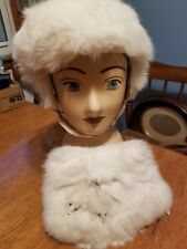 Girl's Vintage Fur Hand Muff Warmer with Matching Hat with chinstrap