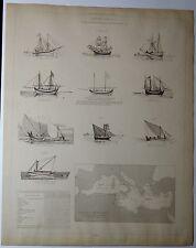 NAVIRES GRECS Sacoléva à voile Scaphe planche du XIX e 1889 /SM5